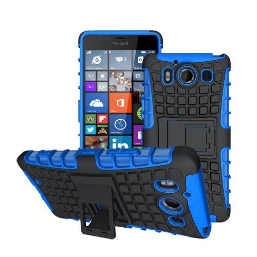 betterfon Microsoft Lumia 950 / Lumia 950 Dual Sim Blau Outdoor Hybrid Case Panzer Tasche Cover Silikon Handytasche Hülle SCHUTZ Schutzhülle Bumper +Gratis Displayschutzfolie