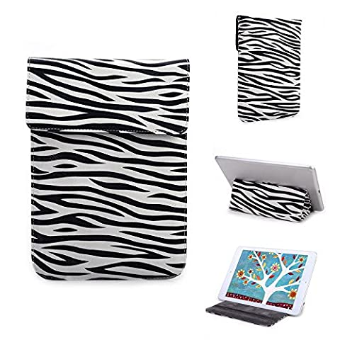 Kroo Zebra Wrapper Sleeve Case with Foldable Stand Mode fits for Maxwest TAB PHONE 72DC