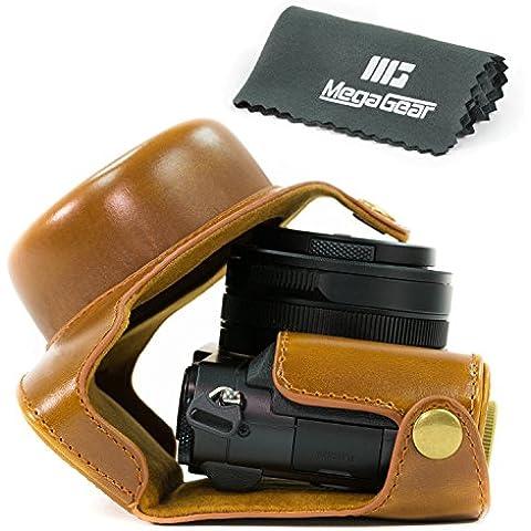 MegaGear Ever Ready–Funda de piel funda para cámara, bolsa para Panasonic Lumix LX100, DMC-LX100Cámara (color marrón)