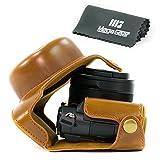 MegaGear Ever Ready - Funda de piel funda para cámara, bolsa para Panasonic Lumix LX100, DMC-LX100 Cámara (color marrón)