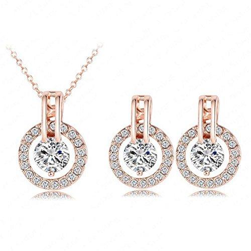 HS86 Damen Schmuckset Halskette Ohrringe 18k Gold plattiert und überzogen Collier Geschenk Kristalle