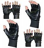 Leather Fingerless GLOVES   Long Lasting Adjustable Strap ~ For Goth Biker ~ Punk Drivers ~ Gym ~ Cycling ~ MotorBike ~ BodyBuilding ETC   (BLACK, MEDIUM)