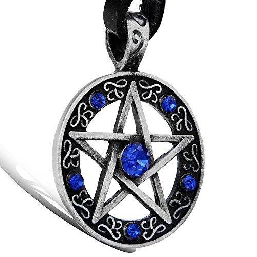 Oidea Herren Damen Halskette mit Anhänger, Leder Kette Halsband mit Pentagramm Stern Legierung Anhänger, Blau Silber Schwarz Braun (Kristall Halskette Leder)