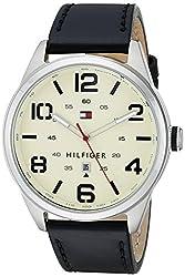 TOMMY HILFIGER Conner Quartz Cream Dial Black Leather Strap Mens Watch - TH1791158J