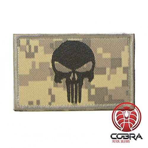 Punisher Patch Tactical Army Morale Emblem Totenkopf Digital Camo mit Klettverschluss Airsoft (Camo) -