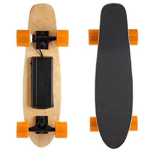 Mymotto - Monopatín longboard inalámbrico, eléctrico, motorizado con 350W y mando a distancia, soporta un peso máximo de 60kg, Orange-Longeur:...