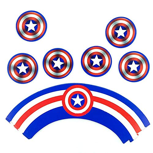 51Itqerxz3L - Envoltorio para tartas de superhéroe (48 unidades), decoración para tartas de superhéroe, suministros para fiesta de superhéroes, decoración para pasteles de Superman