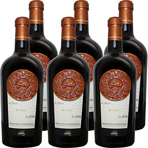 Primitivo di Manduria DOP | Sule | Vigne del Levante | Vino Rosso della Puglia | Salento | Etichetta in Ceramica Ultrasottile | Confezione 6 Bottiglie 75 Cl | Idea Regalo