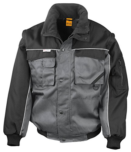 Result - Blouson pilote workguard manches amovibles Result Grey / Black