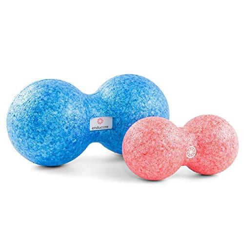 enducore Duoball - Faszienball inkl. Anleitung für gezielte Massage & Faszien Roll Out von Nacken und Rücken - Twinball Massagerolle - Faszienrolle - 12cm