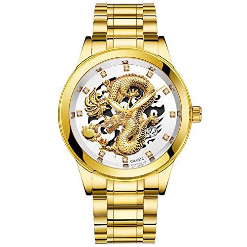 YEARNLY Herren Gold Drachen Uhr Automatik Männer Automatikuhr Militär Wasserdicht Schwarz Edelstahl Luxus Armbanduhren Mann Leuchtende Steampunk Hand Wind Analoge Klassisch leuchtend Uhren (Rolex Saphirglas)