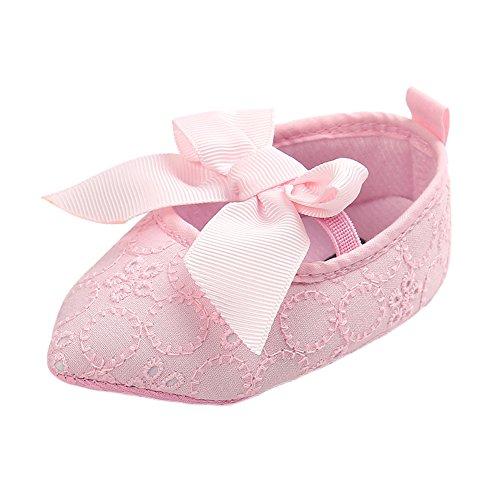Leap Frog  Lace Mary Jane, Baby Mädchen Lauflernschuhe, rosa - Point Toe Pink - Größe: 0-6 (Mary Schuhe Glitter Rosa Jane)
