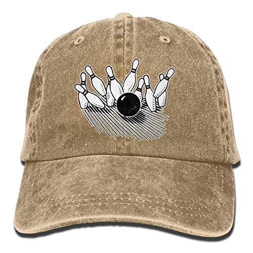 zhong xuyi Trucker Baseball Unisex Baseball Cap Cotton Denim Hat Bowling Ball Striking Bowling Pin Adjustable Snapback Sun Hat -