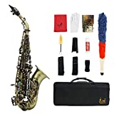 Lefang Bb B-Flat Treble Saxophon High Grade Antike Finish Bend Sax Abalone Shell Key Carve Muster mit Case Handschuhe Reinigung Tuch Straps Fett-Pinsel
