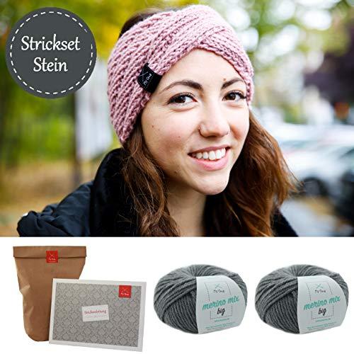 Strickpackung *DIY Stirnband Wintertraum* Strick-Set grau: 2x Merinowolle stein + Strickanleitung + GRATIS Label INKL. Nadelspiel 6mm Strickset - Stirnband stricken - Strick Sets MyOma -