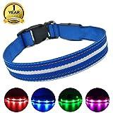 MASBRILL Leuchthalsband für Hunde Aufladbar LED Hundehalsband 100% Wasserdicht Blinkende Lichter mit USB (XS, 35X2cm, Blau)