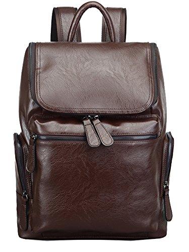Zicac zaino scuola causale PU Classic Leather Fashion Vintage Laptop Backpack zaino scuola gli studenti universitari Zaino Bag (marrone)