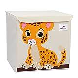 Meshela Aufbewahrungsbox und Organisator für Kinderspielzeug,Cartoon Aufbewahrungswürfel Leinwand Faltbare Spielzeug Aufbewahrungsbox,33 x 33 x 33cm (Tiger)