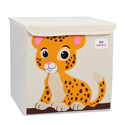Meshela Aufbewahrungsbox und Organisator für Kinderspielzeug,Cartoon Aufbewahrungswürfel Leinwand faltbare Spielzeug Aufbewahrungsbox(Tiger) -
