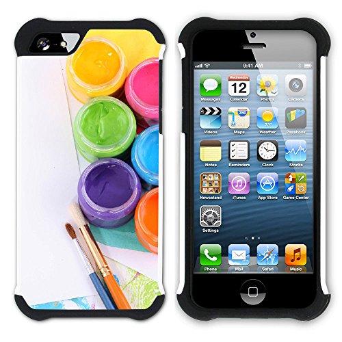 Graphic4You Farbpalette Gemälde Malerei Kunst Farben Hart + Weiche Kratzfeste Hülle Case Schale Tasche Schutzhülle für Apple iPhone SE / 5 / 5S Design #31
