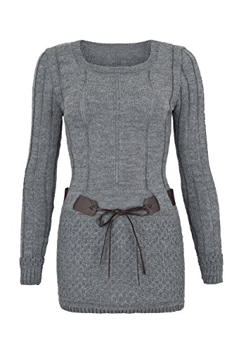 AO Carmen Robe Pull Tricote Manches longues - modèle plus long Gris