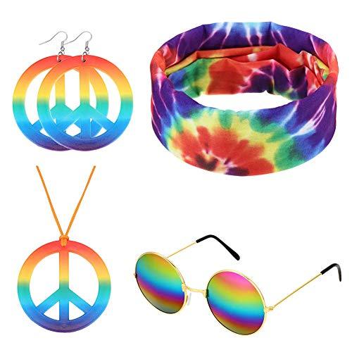 Ztl Hippie Zubehör Set Hippie Sonnenbrille Peace Zeichen Halskette Peace Zeichen Ohrringe Tie Dye Stirnband Bandana - mehrfarbig - Einheitsgröße -