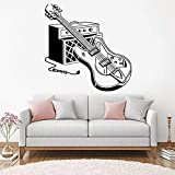 Etiqueta de la pared, Rock and Roll Wall Decal Music Lover's Headphone Guitarra Etiqueta de la pared Teen Boys Girls Room DIY Party Decor Mural 42x42cm