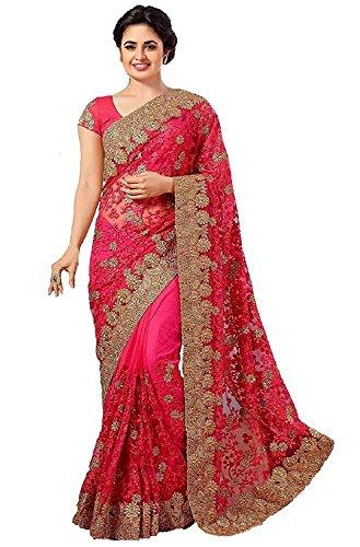 SareeShop Net Saree With Blouse Piece (ZohariPink-SAREESHOP15_Pink_Free Size)