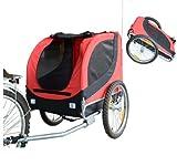 PawHut - Carrellino Rimorchio per Cani Animali Domestici da Bicicletta Rosso e Nero 130 x 90 x 110cm