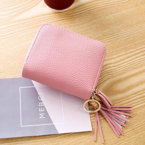 Fuibo Frauen Cardbag Kleine Troddel Anhänger Kurz Geld Geldbörse Reißverschluss Tasche Geldbörsen Mode D