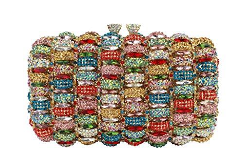 Yilongsheng femmes Antique Prom cristal Embrayage Sacs multicolore