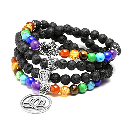 JSDDE 108 Perlen Edelstein Yoga Armband Wickelarmabnd 7 Chakra Lotus Anhänger Perlenarmband Healing Reiki Mala Kette Tibetische Halskette Gebetskette (Lavastein)