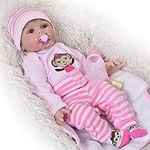 Muñeca recién nacida Golden Mohair Reborn Baby Dolls que parecen reales 22 pulgadas Soft Silicone Girl Babies Muñeca real Kids Birthday Xmas Gift