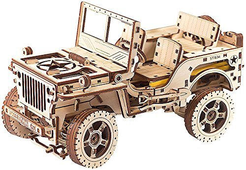 'Wooden City Mechanical Model 4 x 4, bois, blanc, 27.9 x 15 x 63 cm