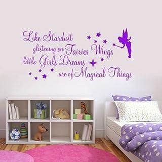 LIKE STARDUST GLISTENING ON FAIRIES WINGS QUOTE WALL ART STICKER DECAL GIRLS KIDS BEDROOM NURSERY (Pink)