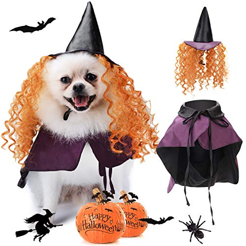 Legendog Halloween Hund Kostüm Set, Lustiger Hund Kostüm Umhang Hund Cosplay enthält Hut Umhang Cute Dog Kostüm Pet Kostüm Set
