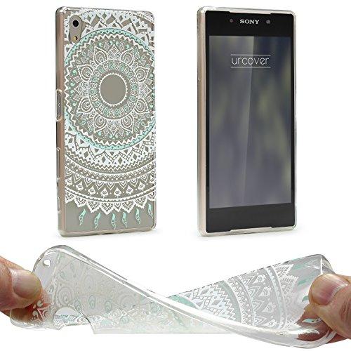 Urcover® Sony Xperia Z5 Hülle | Trend Fashion | TPU in Mandala Mint | Zubehör Tasche Case Handy-Cover Schutz-Hülle Schale