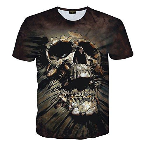 Pizoff Unisex Digital Print T Shirts mit Galaxy Schädel Blume Leopard Tiger Katze Schwein Pommes Batman Cartoon 3D Muster Y1730-J3-XL (Print Tiger T-shirt)