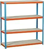 Simonrack Simonforte 1506-4 Chipboard Metal Naranja, Azul, Madera natural - Estanterías para el hogar (4 estanterías, Metal, Naranja, Azul, Madera nat