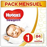 Huggies Couches Ultra Comfort Newborn Baby Taille 1 moitié Mona tsbox, 1er Pack (1 x 84 pièces)