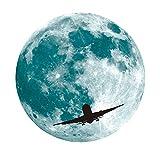 3D Wandsticker Leuchtaufkleber Leuchtsticker Großer Mond Wandaufkleber Hausdekoration für Schlafzimmer Wohnzimmer Kinderzimmer Fluoreszierender Aufkleber 5cm / 30cm (Blau B, 30CM)