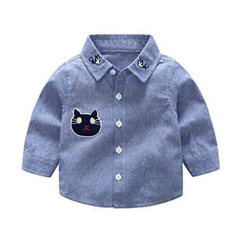 Neugeborene Baby Junge Mode Langarm Gentleman Gestreift Hemd Stickerei Karikatur Katze T-Shirt Tops Hemden Outfit Kinder Weich Baumwolle Blusen Babykleidung Jungenkleidung Set für 1-3 Jahre