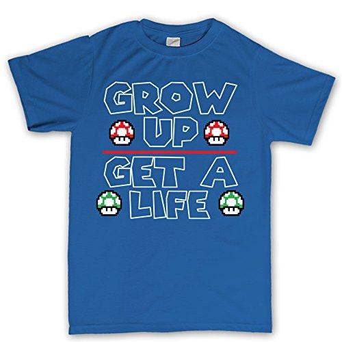 Grow Up Power Up Mushrooms Gaming Gamer T shirt (Super Mario Maker Kostüm)
