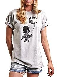Lustige Shirts mit Aufdruck - Baby Vader mit Death Star - Rundhals Top locker geschnitten