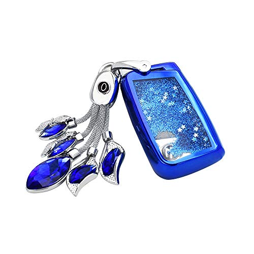 Key Fob Hülle, BestCatGift Key Fob Cover Für Volkswagen VW Lamando Tiguan Golf-7 Golf-R Sportsvan Teramont Magotan B8 Variant with Liquid Quicksand and Synthetic Bling Diamonds Pendant - Blue Blue Diamond Bling