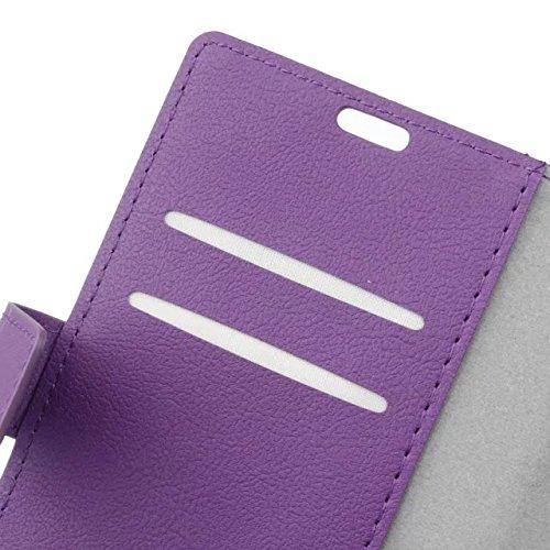 LG K3 Case, Einfarbig Kas Textur Muster Leder Schutzhülle Case Horizontal Flip Standplatz Fall mit Kartenfächern für LG K3 ( Color : Red , Size : LG K3 ) Purple