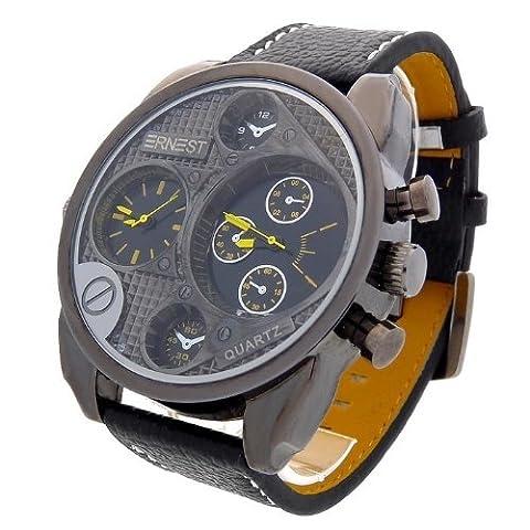 Montre Analogique Homme - bracelet Cuir synthétique Noir - Cadran