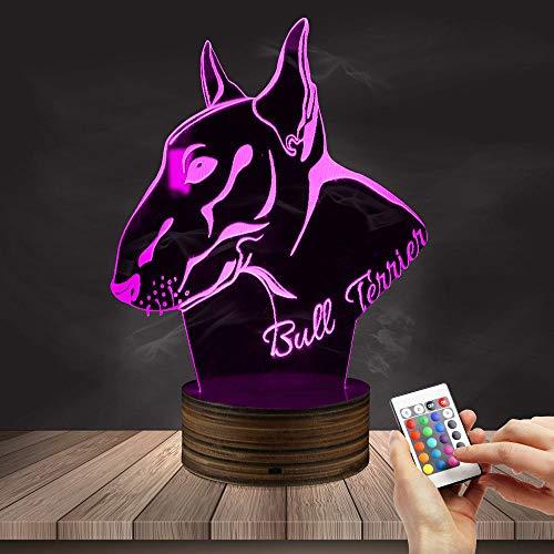 Englisch Pit Bull Terrier LED Nachtlicht Home Decor Tischlampe Hund Welpen Rasse 3D optische Täuschung Licht Schreibtischlampe 3D Tischlampe Cartoon Bild Kinder Nachttischlampe 16 Farbe Nachtlicht