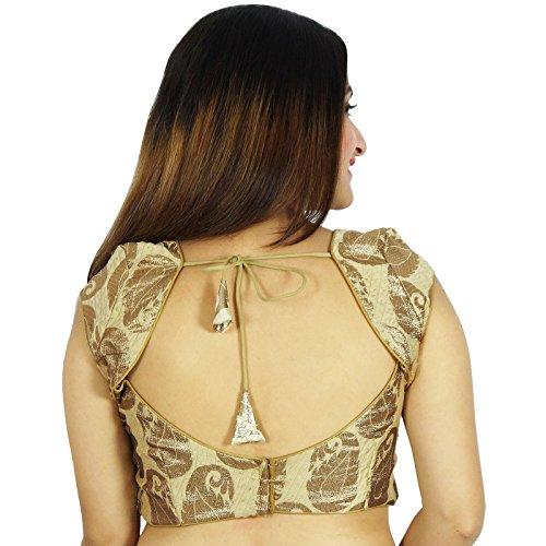 Prêt-Bollywood Designer Blouse Tissage Party Wear Crop-Haut Beige