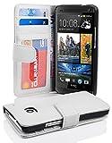 Cadorabo Hülle für HTC One M7 (1. Gen.) Hülle in Handyhülle mit 3 Kartenfächern Case Cover Schutzhülle Etui Tasche Book Klapp Style Magnesium Weiß
